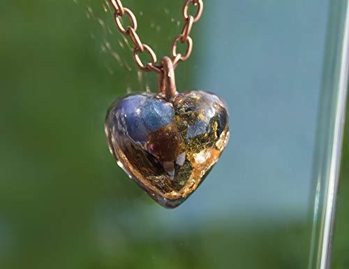 Tanzanite Crystal Pendant - ORGONITE Moldavite with Tanzanite Pendant - EMF shield, Orgone Necklace