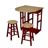 Kitchen Island Table with Chairs Casual Home Drop Leaf Breakfast Cart with 2 Stools, Natural and Red