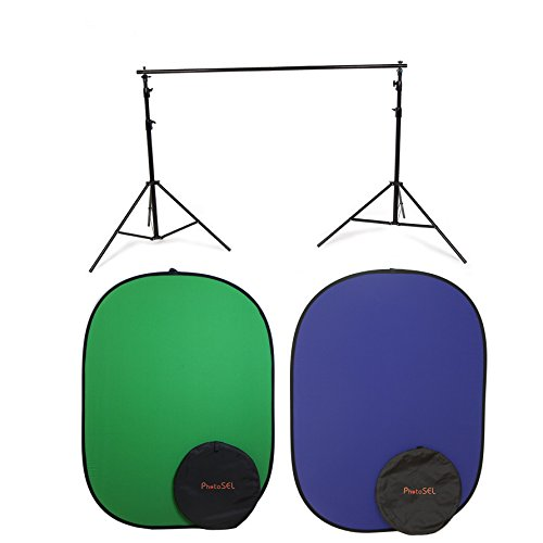 PhotoSEL BD123GUBS 2x2.4m Chroma Key Collapsible Background with Stand Kit - Green/Blue by PhotoSEL