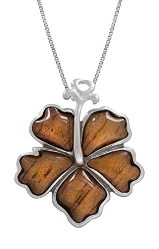 Sterling Silver Koa Wood Hibiscus Necklace Pendant with 18
