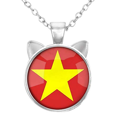 LooPoP Cat Pendant Necklace Jewelry for Women Kids Gifts Included Free Charm Chain, Socialist Republic of Vietnam National Flag -