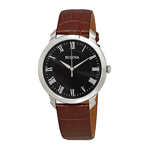 Bulova Men's Quartz Stainless Steel and Brown Leather Dress Watch (Model: 96A184) ()