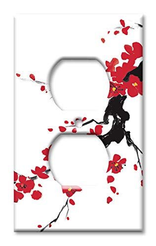 (Art Plates Duplex Outlet Cover Wall Plate - Red Blossoms)