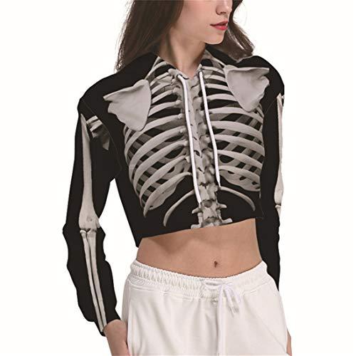 YICHUN Women Girl Short Thin Top Sweatshirt Hoodie Sweater Hooded Sweat T-Shirt Blouse (XL, Skeleton (Hooded Sweat T-shirt)