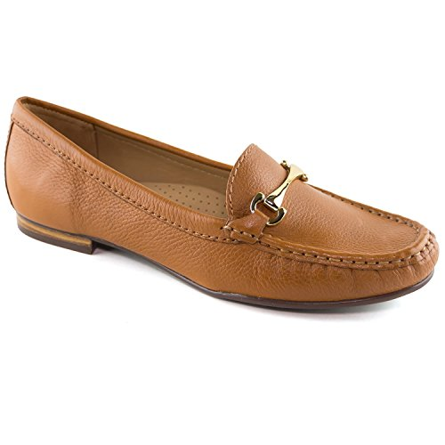 Driver Club USA Women's Fashion Shoes Grand 2 Tan Grainy Buckle Loafer 8 (More Size/Colors Available)