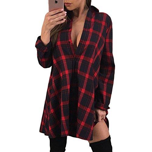 Qin Shirt t Informale Tops amp;x Manica Red Donna Allentato Cxq Lunga shirt T Felpa ZpEqwq