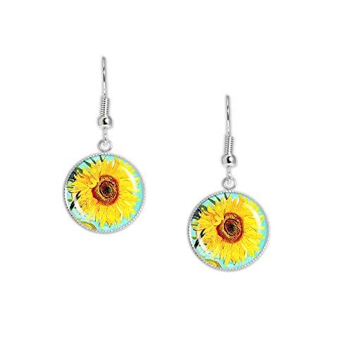 Sunny Yellow Sunflower Flower Van Gogh Painting Dangle Earrings w/ 3/4