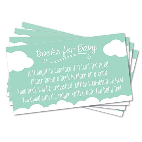 25 Books for Baby Request Inserts for Shower Invitations - Neutral Unisex - Heaven Sent - Clouds - Mint Blue Aqua]()