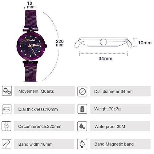 RORIOS Fashion Analogue Quartz Watches Magnetic Mesh Band Starry Sky Dial Simulated Diamond Wrist Watches for Girl/Women Waterproof by RORIOS (Image #5)