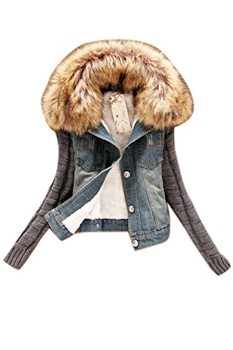 La Mujer Casual Cuello Peludo Fleece Winter Warm Chaqueta Denim Outwear Plussize Blue