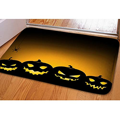 iBathRugs Door Mat Indoor Area Rugs Living Room Carpets Home Decor Rug Bedroom Floor Mats,Halloween Pumpkin Background Card Invitation -