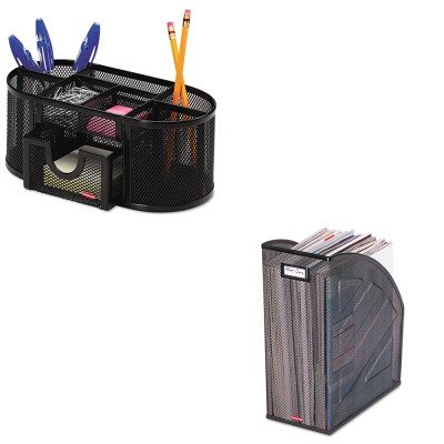 (KITROL1746466ROL62560 - Value Kit - Rolodex Nestable Rolled Mesh Steel Jumbo Magazine File (ROL62560) and Rolodex Mesh Pencil Cup Organizer (ROL1746466))