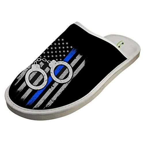 Bedroom Men Blue For House Thin BVVST Shoes Women White Flag Line Indoor Warm Slippers pqWdC7c
