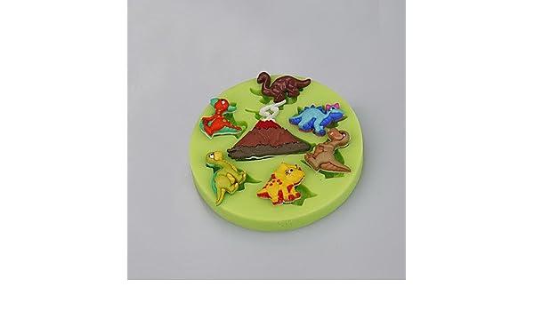 Erica volcán dinosaurio taza de molde de silicona Fondant pastel decoración Sugarcraft herramientas de arcilla de polímero FIMO Chocolate Candy Making: ...
