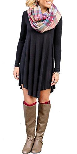 Minetom Mujeres Vestido Con Manga Larga V-Cuello Mini Dress Camiseta Larga Hem Irregular Vestido de Otoño Negro