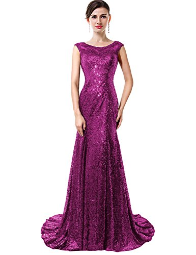 VaniaDress Mermaid Sleeveless Sequins Tulle Long Banquet Evening Dress V027LF Dark Purple US22W