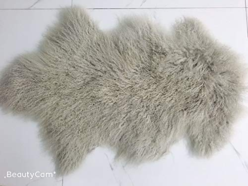 - February Snow Deluxe Home Decorative Curly Fur Soft Plush 100% Real Genuine Mongolian (Tibetan) Lamb Wool Rug/Carpet/ (Grey)
