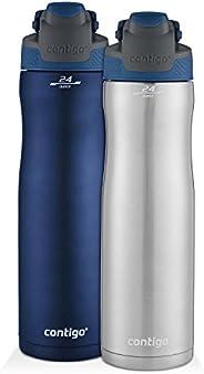 Contigo AUTOSEAL Chill Stainless Steel Water Bottles, 24 oz, SS/Scuba & Scuba, 2-