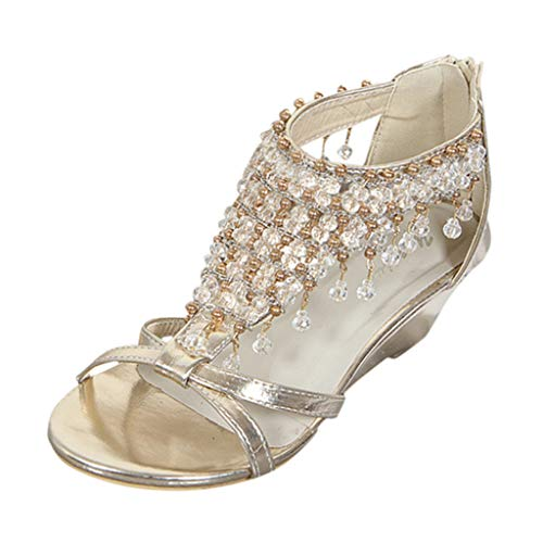 JUSTWIN Summer Fashion Sandals Women's Summer Wedge Pearl Pendant Shoes Open Peep Toe Thick Bottom Bohemia Sandals Gold