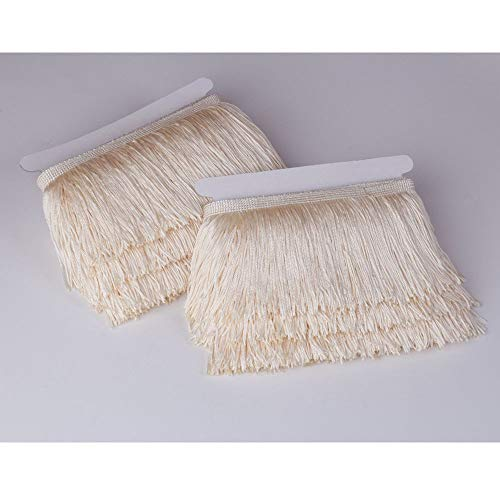 Fringe Cream - Heartwish268 Fringe Trim Lace Polyerter Fibre Tassel 4inch Wide 10 Yards Long for Clothes Accessories Latin Wedding Dress DIY Lamp Shade Decoration Black (Cream Off-White)