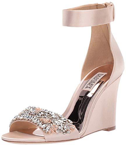 Badgley Mischka Women's Lauren Wedge Sandal Soft Nude 8 M - Satin Ankle Strap Wedge