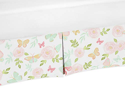 (Sweet Jojo Designs Blush Pink, Mint and White Watercolor Rose Girl Pleated Baby Crib Bed Skirt Dust Ruffle for Butterfly Floral Collection)