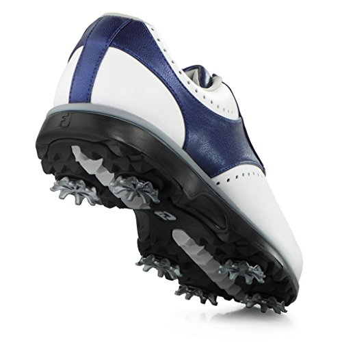 FootJoy Women's eMerge Spiked Golf Shoes, Close-out (7 B(M) US, White/Navy Linen 93900) by FootJoy (Image #6)