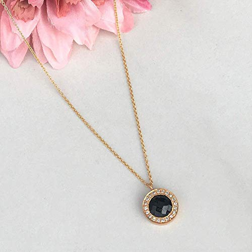 (SIVALYA Black Onyx and CZ Pendant Necklace in 925 Sterling Silver - Polished Finish in Gold Vermeil - Great Gift for Her)