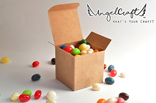 ANGELCRAFT Brown Kraft Gift Box 3x3x3 inch Cupcake Box, Wedding Party Favor, Bakery Box, Holiday Gift Box, Party Boxes 50-Pack by AngelCraft (Image #3)