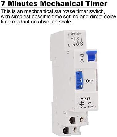 SINOTIMER TM-ST7 220V 7 Minutos Temporizador mecánico 18mm Módulo individual Temporizador de escalera de carril DIN Instrumentos de interruptor de tiempo - Blanco: Amazon.es: Iluminación