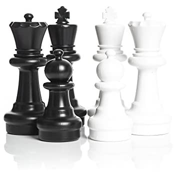 MegaChess Large Chess Pieces   Black And White   Plastic   12 Inch King