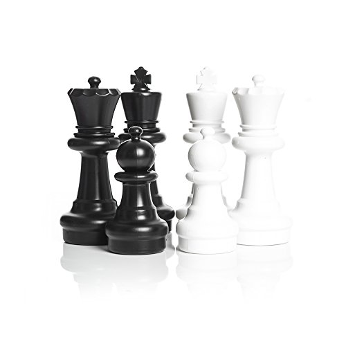 MegaChess Large Chess Pieces - Black and White - Plastic - 12 inch King by MegaChess