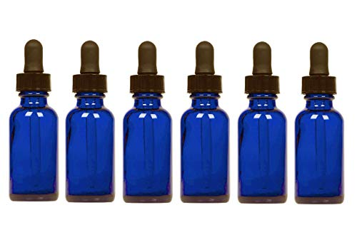New 1oz. Cobalt Blue Glass Empty Bottles Perfect for Essential Oils with Glass Eye Droppers, Set of 6