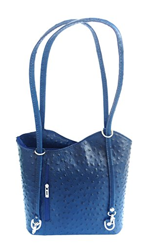 Superflybags Borsa A Mano O Zaino In Vera Pelle modello Micaela Struzzo Made In Italy Blu scuro