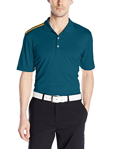 adidas Golf Men's Golf Climacool 3-Stripes Polo Shirt, Utility Green F, (Climacool 3 Stripes Polo)