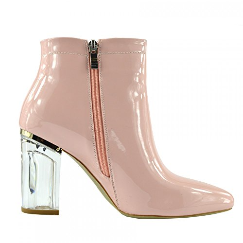 Damen Stiefeletten Klare Plexiglas Block High Heel Party Mode Schuhe Pink-NF025