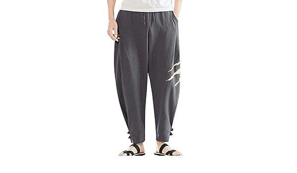 Pantalones Hombre Verano Pantalones de Lino Sueltos Pantalón ...