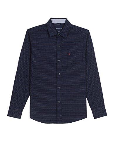 (Nautica Boys' Little Long Sleeve Printed Woven Shirt, Sport Navy, 5/6)