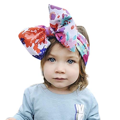 ANJUNIE Baby Girl Nylon Soft Headbands Newborn Infant Toddler Hairbands and Bows Child Hair Accessories (Freesize, F)