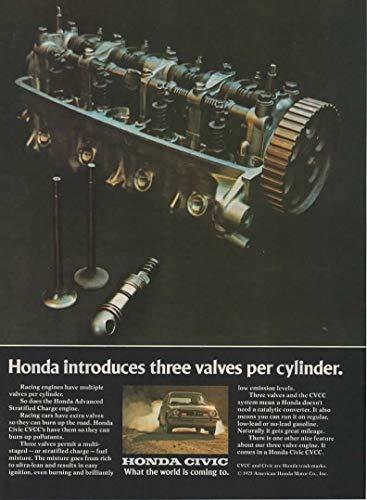 Magazine Print Ad: 1975 Honda Civic CVCC, Advanced Stratified Charge Engine,