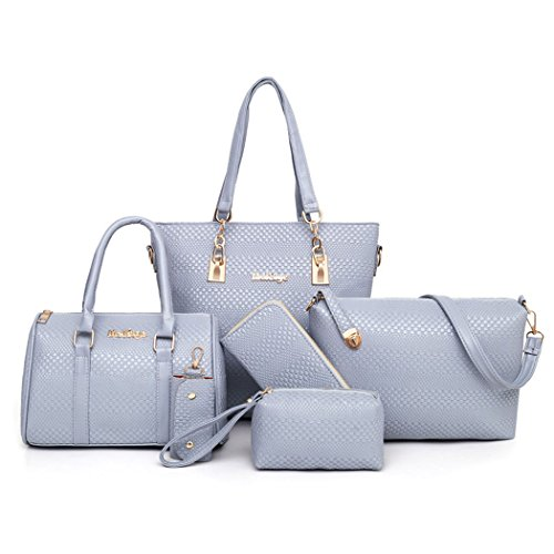 Body Grey Bags Handle Set Leather Handbags Bags 5pcs Shoulder Cross Faux Top Women's Bags O0wHAq