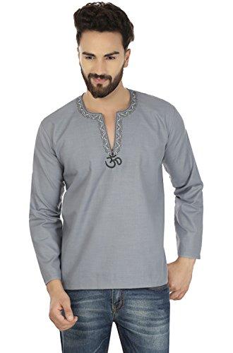 Cotton Dress Mens Short Kurta Shirt India Fashion Clothes (Grey, S) by Maple Clothing