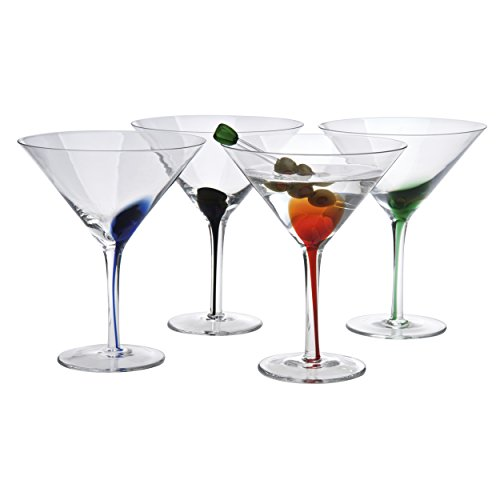 Artland Splash 12 oz martini Glasses (Set of 4), Multicolor