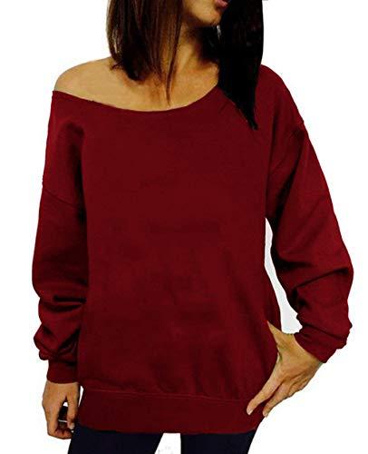 GSVIBK Womens Black Sweatshirt Casual Off Shoulder Sweatshirts Long Sleeve Letter Printed Shirt Slouchy Pullover Wine Red 107-XL