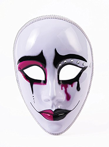 Forum Novelties 76390 Harlequin Pierrot Mime Masquerade Mask Tears Sad Face Women's Costume Accessory, 10 x 12 x 5