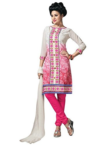 Vibes Womens Cotton Patch Work Straight Dress Material (V266-2 _Pink _Free Size)