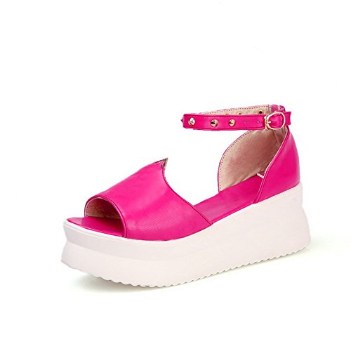 VogueZone009 Womens Open Peep Toe Kitten Heel Wedges PU Soft Material Solid Sandals with Metal Peach