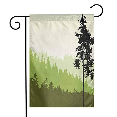 Mannwarehouse Nature Garden Flag Nature Theme Pine Tree Silhouette on an Abstract Style Background Premium Material W12 x L18 Lime Green and Army Green