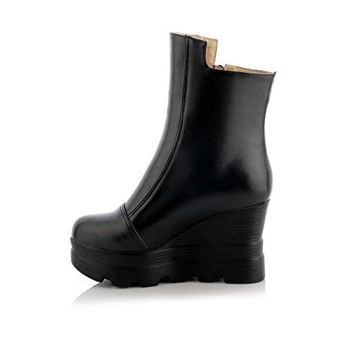 Amoonyfashion Womens Rits Ronde Gesloten Teen Blend Materialen Pu Lage Laarzen Zwart