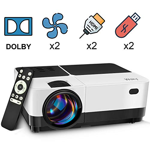 Wsky Video Portable Projector Outdoor Home Theater, LED LCD HD 1080p Supported with Dual Speakers, Compatible DVD, Phone, Laptop, HDMI, TV, PS4, PC (Best Outdoor Theater Projector)